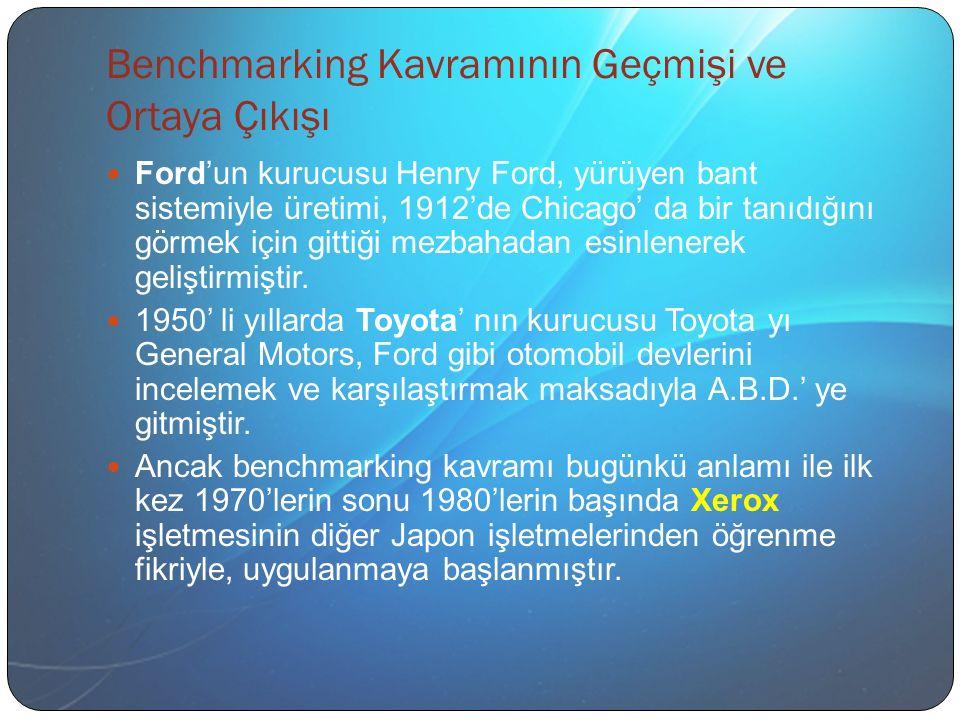 Benchmarking Kavramının Geçmişi ve Ortaya Çıkışı Ford'un kurucusu Henry Ford, yürüyen bant sistemiyle üretimi, 1912'de Chicago' da bir tanıdığını görmek için gittiği mezbahadan esinlenerek geliştirmiştir.
