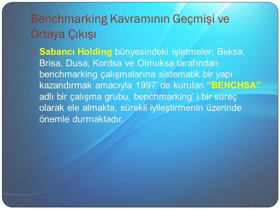 Benchmarking Kavramının Geçmişi ve Ortaya Çıkışı Sabancı Holding bünyesindeki işletmeler; Beksa, Brisa, Dusa, Kordsa ve Olmuksa tarafından benchmarking çalışmalarına sistematik bir yapı kazandırmak amacıyla 1997' de kurulan BENCHSA adlı bir çalışma grubu, benchmarking' i bir süreç olarak ele almakta, sürekli iyileştirmenin üzerinde önemle durmaktadır.