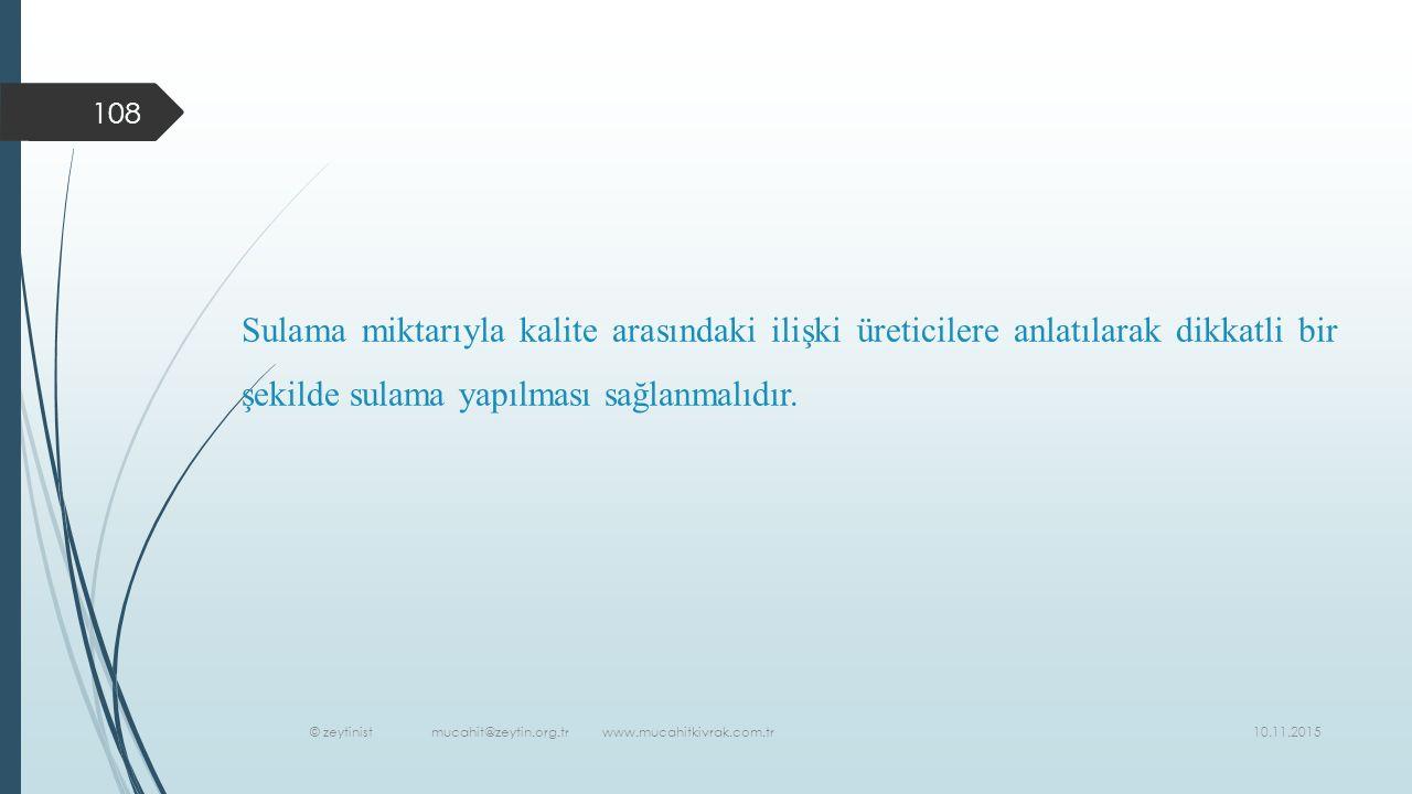 10.11.2015 © zeytinist mucahit@zeytin.org.tr www.mucahitkivrak.com.tr 108 Sulama miktarıyla kalite arasındaki ilişki üreticilere anlatılarak dikkatli bir şekilde sulama yapılması sağlanmalıdır.