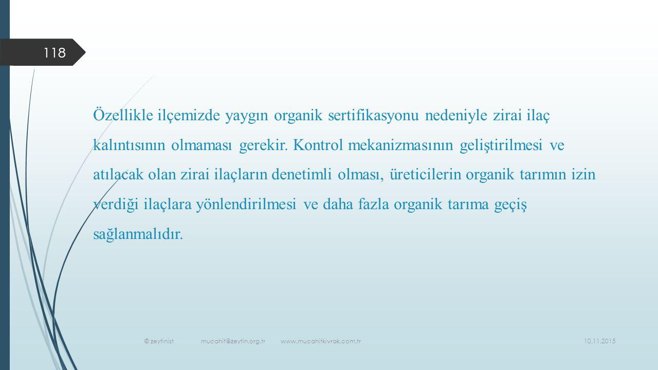 10.11.2015 © zeytinist mucahit@zeytin.org.tr www.mucahitkivrak.com.tr 118 Özellikle ilçemizde yaygın organik sertifikasyonu nedeniyle zirai ilaç kalıntısının olmaması gerekir.
