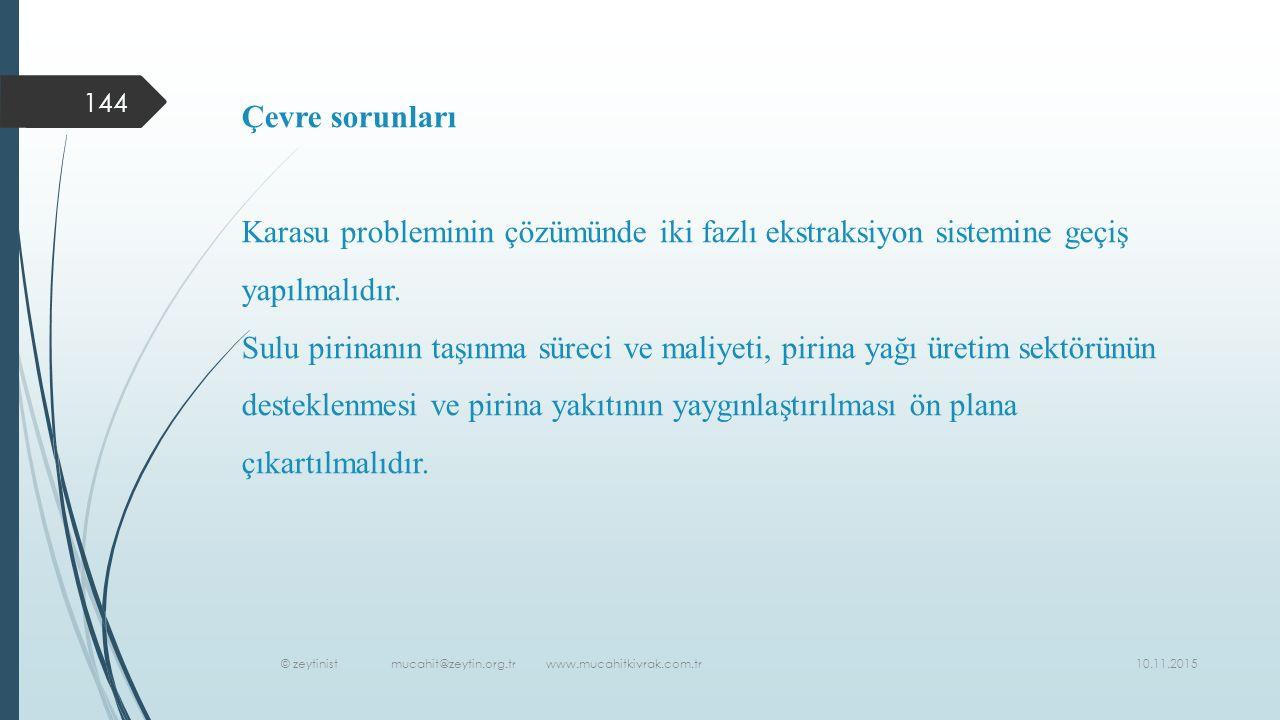 10.11.2015 © zeytinist mucahit@zeytin.org.tr www.mucahitkivrak.com.tr 144 Çevre sorunları Karasu probleminin çözümünde iki fazlı ekstraksiyon sistemine geçiş yapılmalıdır.