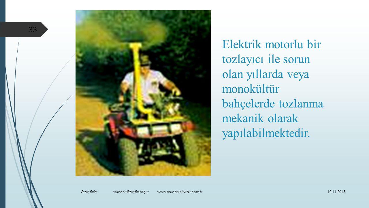 Elektrik motorlu bir tozlayıcı ile sorun olan yıllarda veya monokültür bahçelerde tozlanma mekanik olarak yapılabilmektedir.