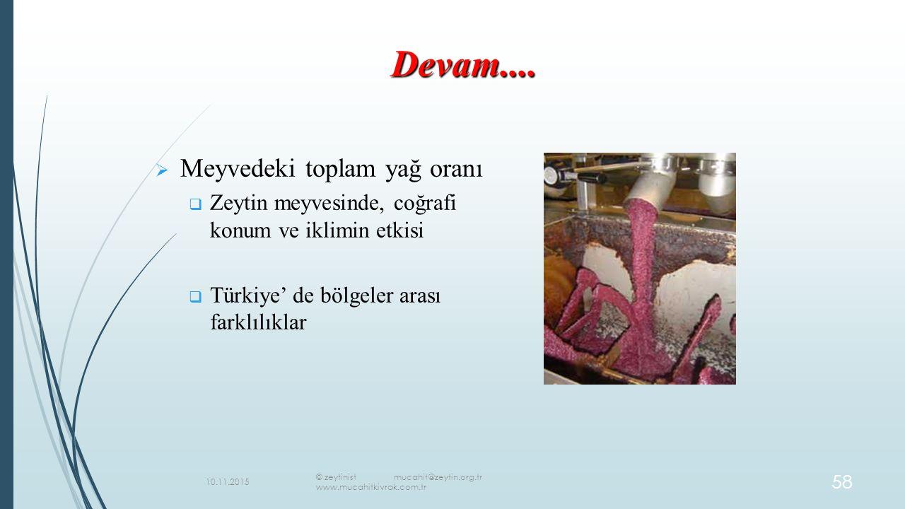   Meyvedeki toplam yağ oranı   Zeytin meyvesinde, coğrafi konum ve iklimin etkisi   Türkiye' de bölgeler arası farklılıklar Devam....