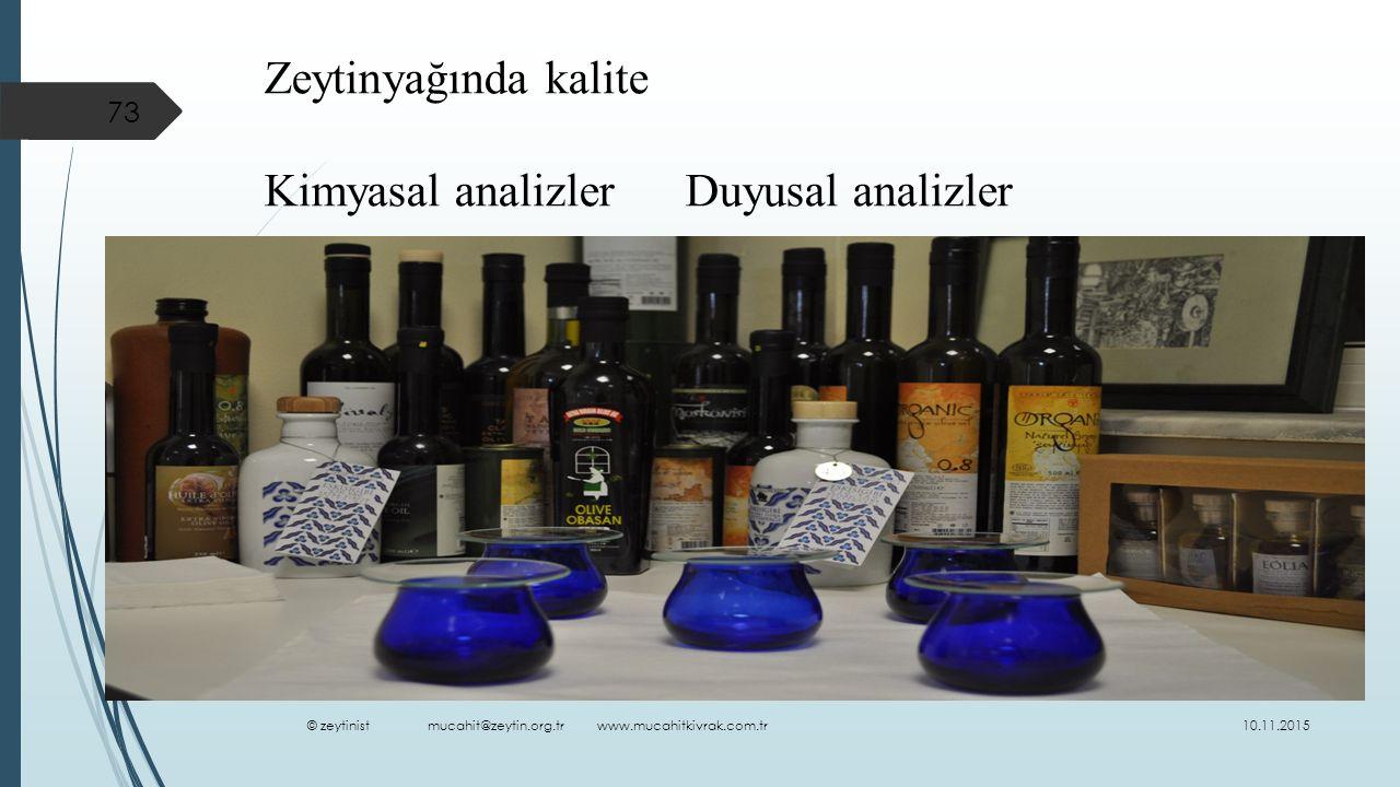 Zeytinyağında kalite Kimyasal analizler Duyusal analizler 10.11.2015 73 © zeytinist mucahit@zeytin.org.tr www.mucahitkivrak.com.tr
