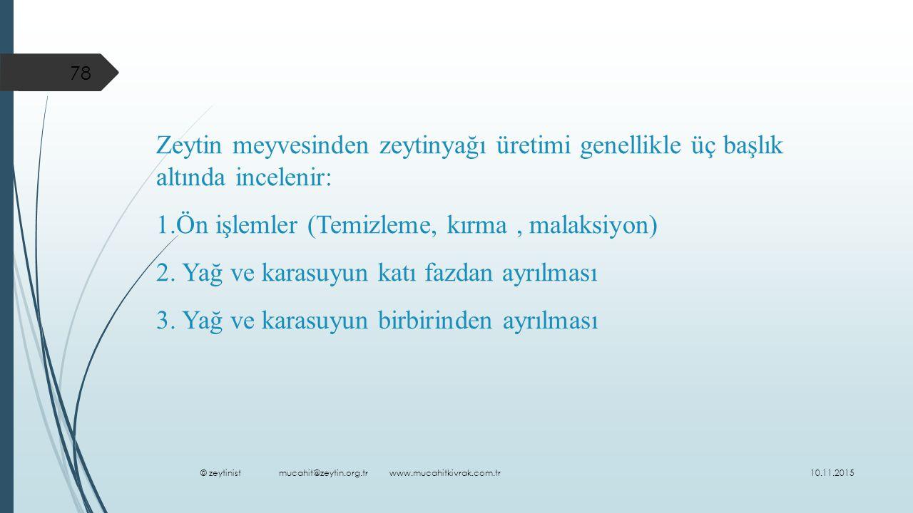 Zeytin meyvesinden zeytinyağı üretimi genellikle üç başlık altında incelenir: 1.Ön işlemler (Temizleme, kırma, malaksiyon) 2.