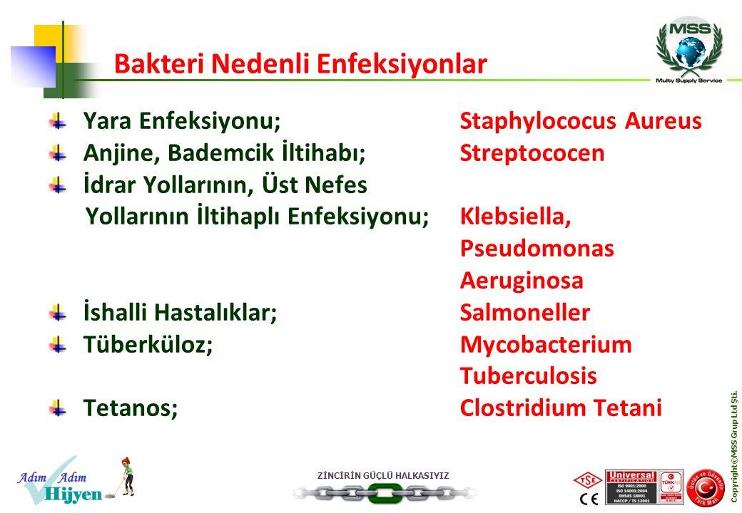 ZİNCİRİN GÜÇLÜ HALKASIYIZ Copyright©MSS Grup Ltd Şti. Yara Enfeksiyonu;Staphylococus Aureus Anjine, Bademcik İltihabı;Streptococen İdrar Yollarının, Ü