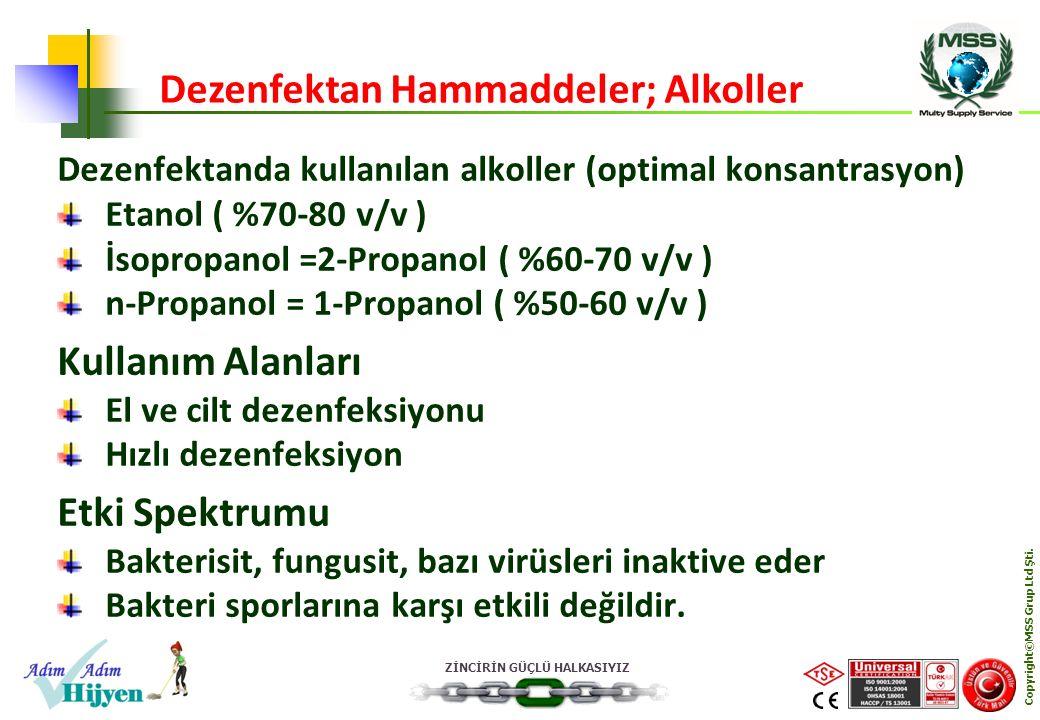 ZİNCİRİN GÜÇLÜ HALKASIYIZ Copyright©MSS Grup Ltd Şti. Dezenfektanda kullanılan alkoller (optimal konsantrasyon) Etanol ( %70-80 v/v ) İsopropanol =2-P