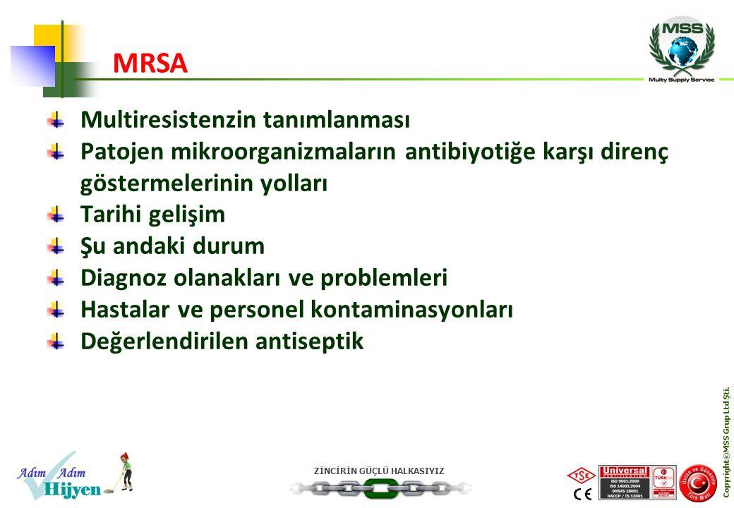ZİNCİRİN GÜÇLÜ HALKASIYIZ Copyright©MSS Grup Ltd Şti. Multiresistenzin tanımlanması Patojen mikroorganizmaların antibiyotiğe karşı direnç göstermeleri