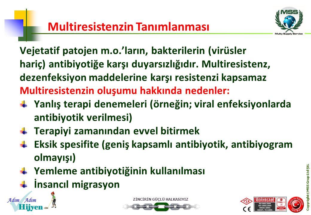 ZİNCİRİN GÜÇLÜ HALKASIYIZ Copyright©MSS Grup Ltd Şti. Vejetatif patojen m.o.'ların, bakterilerin (virüsler hariç) antibiyotiğe karşı duyarsızlığıdır.
