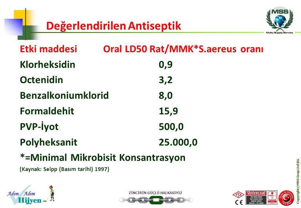 ZİNCİRİN GÜÇLÜ HALKASIYIZ Copyright©MSS Grup Ltd Şti. Etki maddesiOral LD50 Rat/MMK*S.aereus oranı Klorheksidin0,9 Octenidin3,2 Benzalkoniumklorid8,0