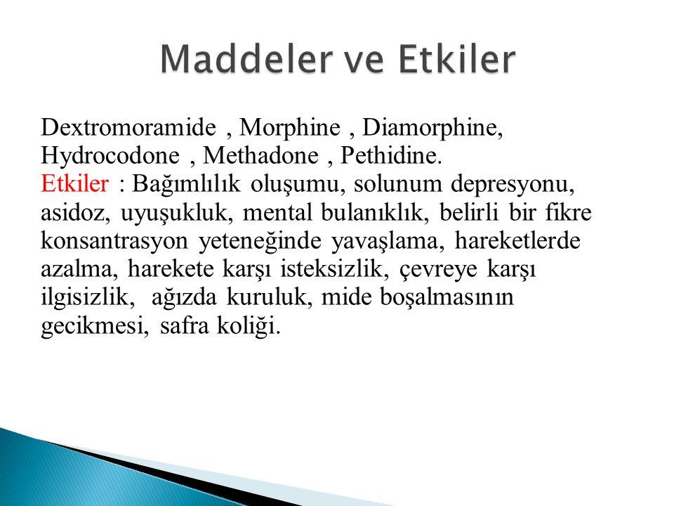 Dextromoramide, Morphine, Diamorphine, Hydrocodone, Methadone, Pethidine.