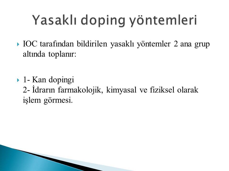  IOC tarafından bildirilen yasaklı yöntemler 2 ana grup altında toplanır:  1- Kan dopingi 2- İdrarın farmakolojik, kimyasal ve fiziksel olarak işlem görmesi.