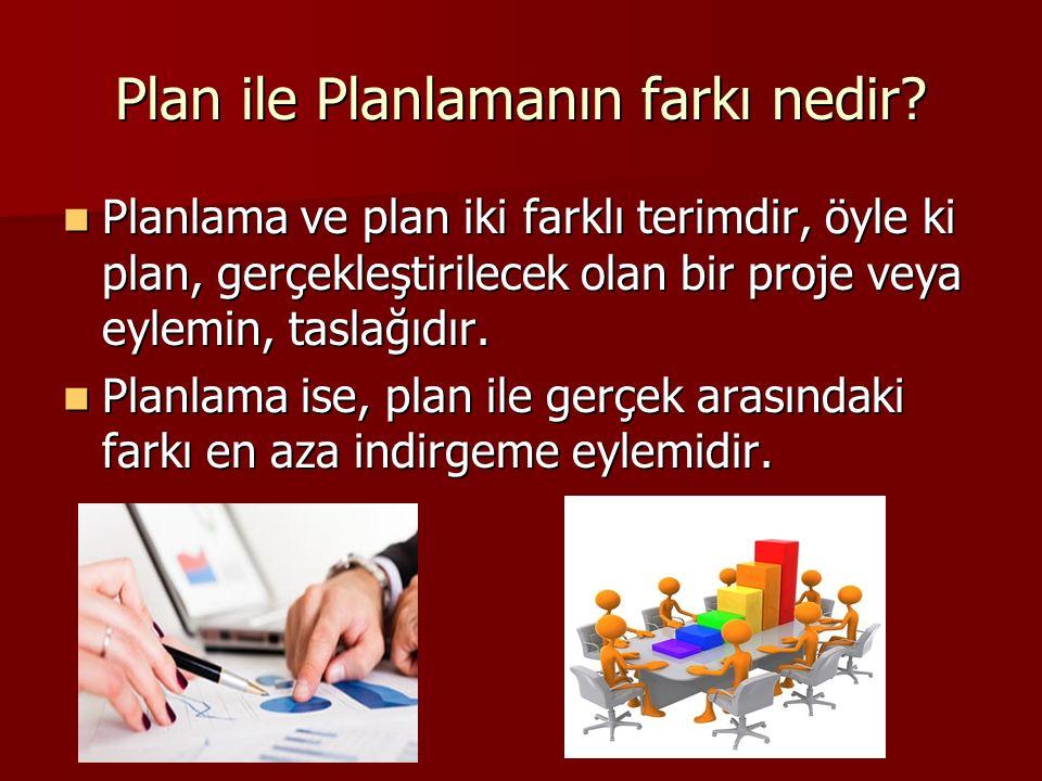 Planlama ve plan iki farklı terimdir, öyle ki plan, gerçekleştirilecek olan bir proje veya eylemin, taslağıdır.