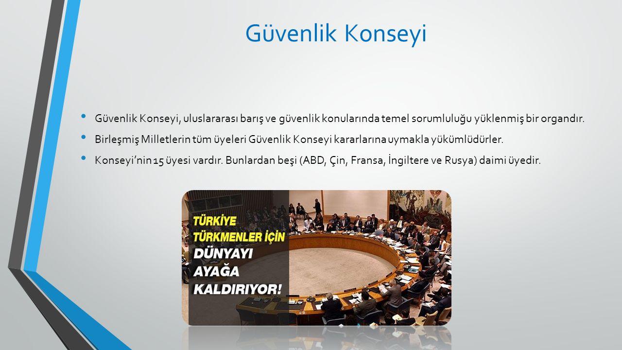 Güvenlik Konseyi Güvenlik Konseyi, uluslararası barış ve güvenlik konularında temel sorumluluğu yüklenmiş bir organdır. Birleşmiş Milletlerin tüm üyel