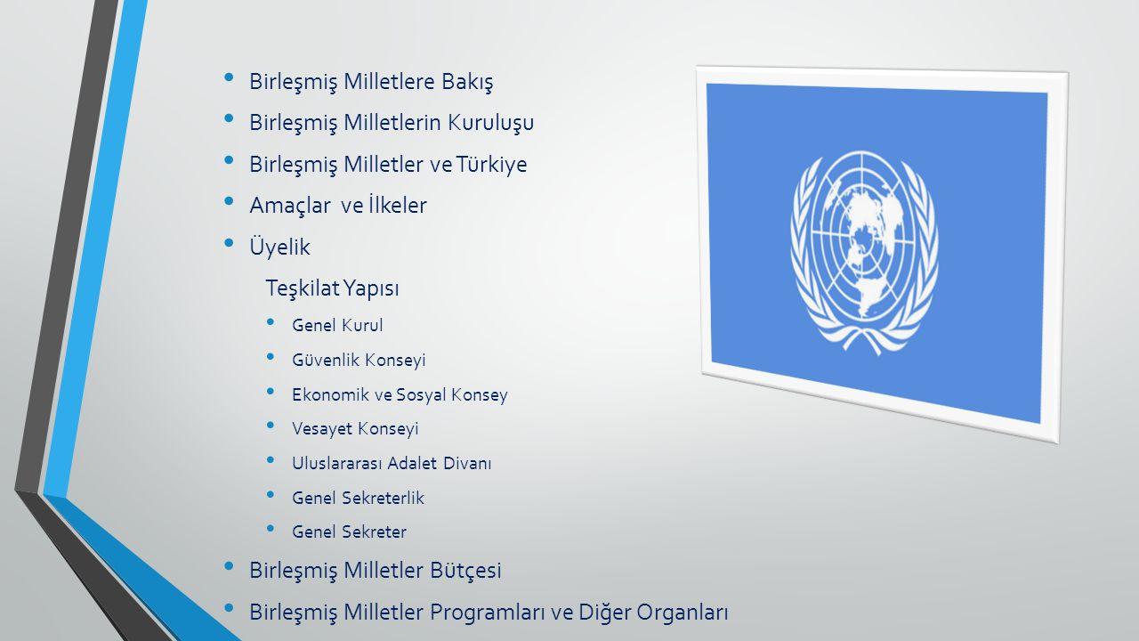 Birleşmiş Milletlere Bakış Birleşmiş Milletlerin Kuruluşu Birleşmiş Milletler ve Türkiye Amaçlar ve İlkeler Üyelik Teşkilat Yapısı Genel Kurul Güvenli
