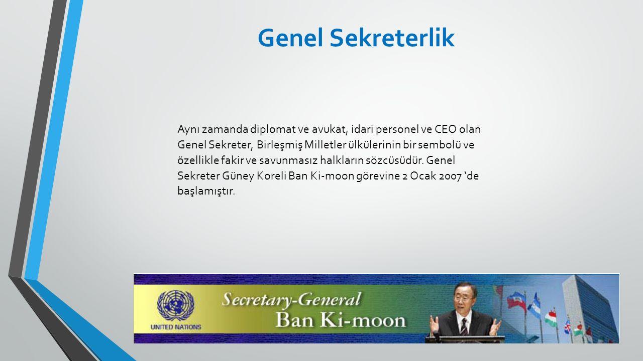 Aynı zamanda diplomat ve avukat, idari personel ve CEO olan Genel Sekreter, Birleşmiş Milletler ülkülerinin bir sembolü ve özellikle fakir ve savunmas
