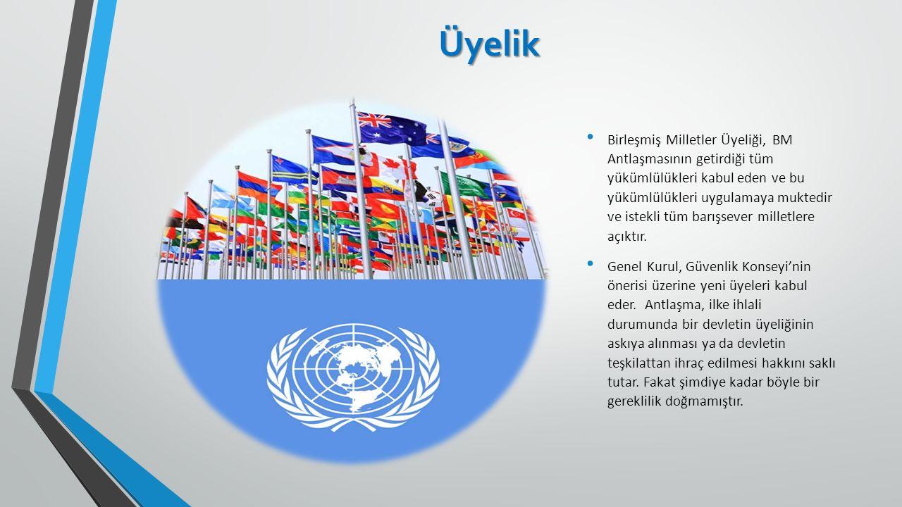 Üyelik Birleşmiş Milletler Üyeliği, BM Antlaşmasının getirdiği tüm yükümlülükleri kabul eden ve bu yükümlülükleri uygulamaya muktedir ve istekli tüm b