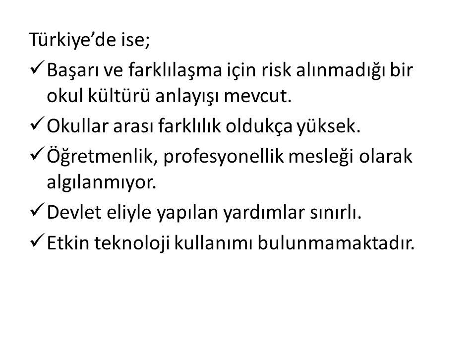 Türkiye'de ise; Başarı ve farklılaşma için risk alınmadığı bir okul kültürü anlayışı mevcut.