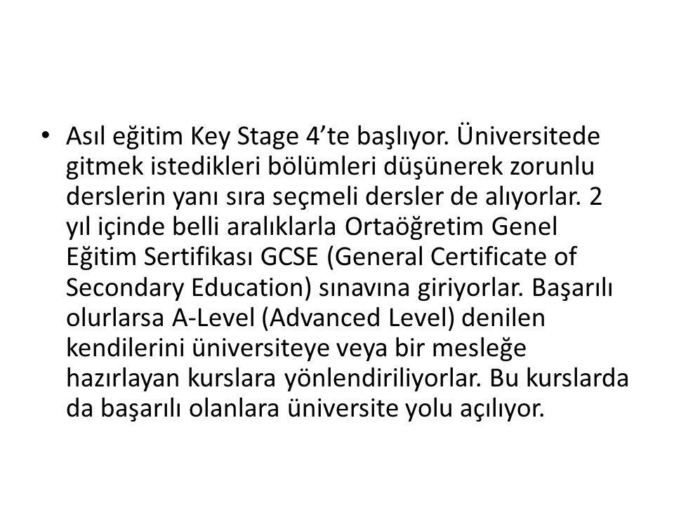 Asıl eğitim Key Stage 4'te başlıyor.