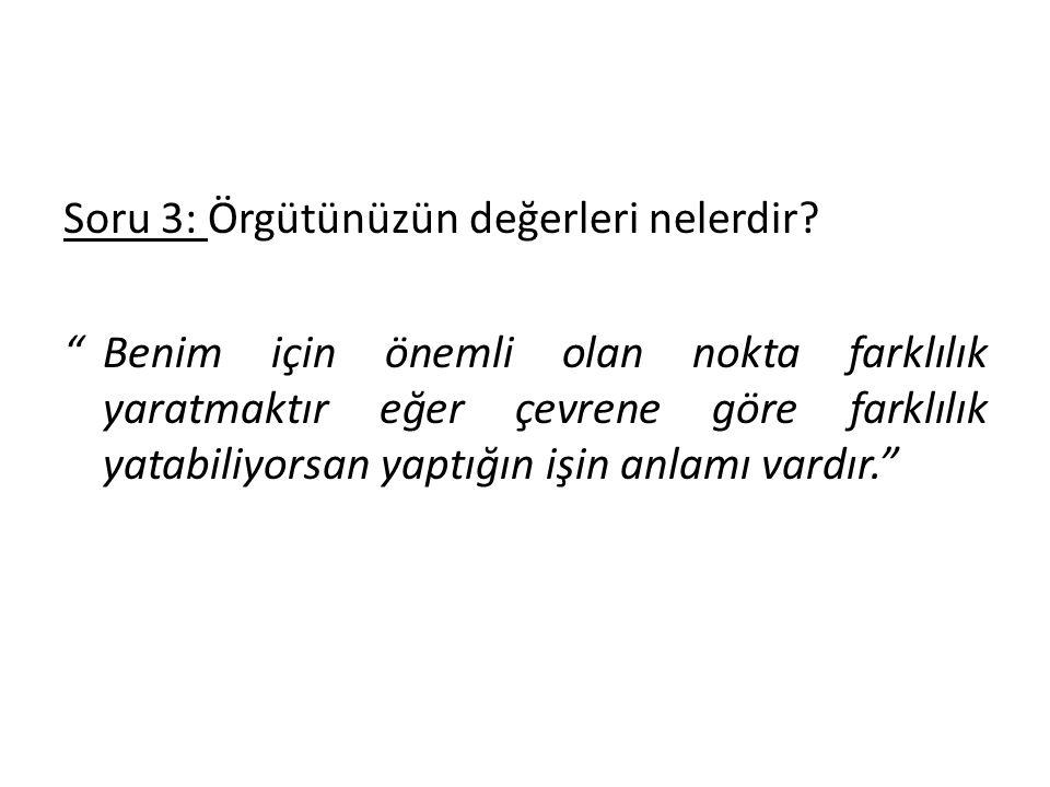Soru 3: Örgütünüzün değerleri nelerdir.