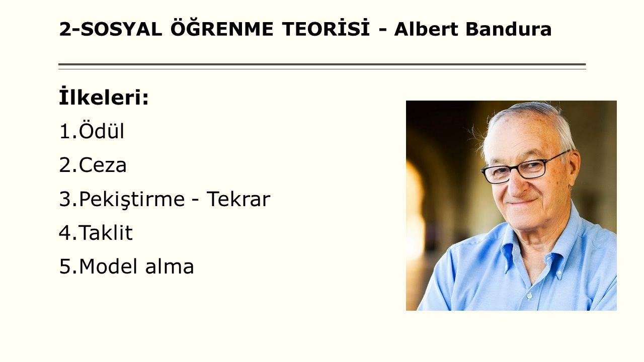 2-SOSYAL ÖĞRENME TEORİSİ - Albert Bandura İlkeleri: 1.Ödül 2.Ceza 3.Pekiştirme - Tekrar 4.Taklit 5.Model alma