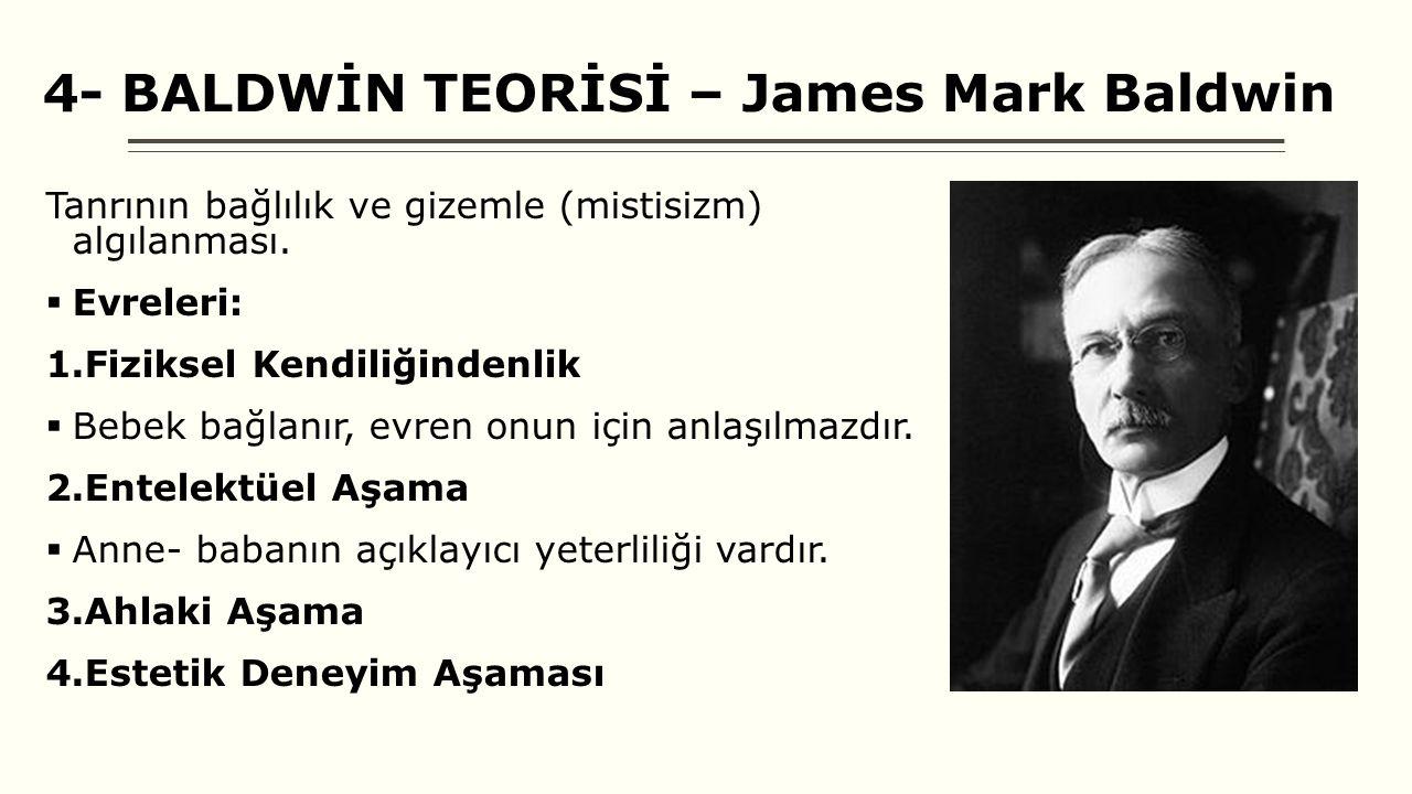 4- BALDWİN TEORİSİ – James Mark Baldwin Tanrının bağlılık ve gizemle (mistisizm) algılanması.
