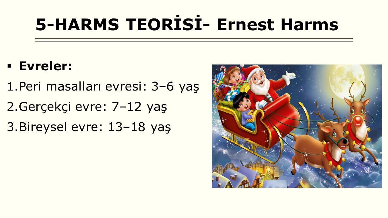 5-HARMS TEORİSİ- Ernest Harms  Evreler: 1.Peri masalları evresi: 3–6 yaş 2.Gerçekçi evre: 7–12 yaş 3.Bireysel evre: 13–18 yaş