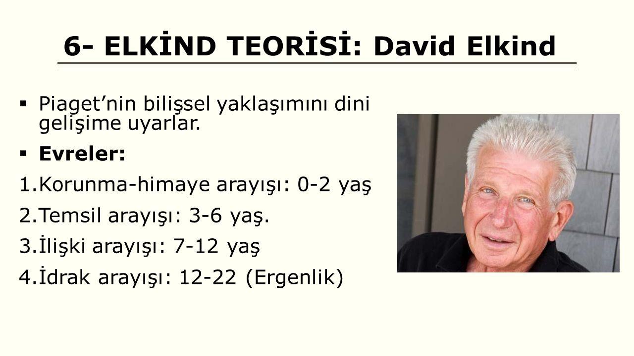 6- ELKİND TEORİSİ: David Elkind  Piaget'nin bilişsel yaklaşımını dini gelişime uyarlar.