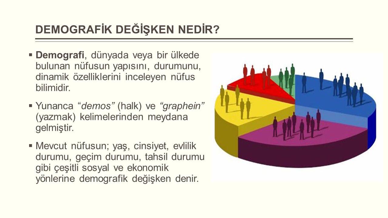 DEMOGRAFİK DEĞİŞKEN NEDİR?  Demografi, dünyada veya bir ülkede bulunan nüfusun yapısını, durumunu, dinamik özelliklerini inceleyen nüfus bilimidir. 