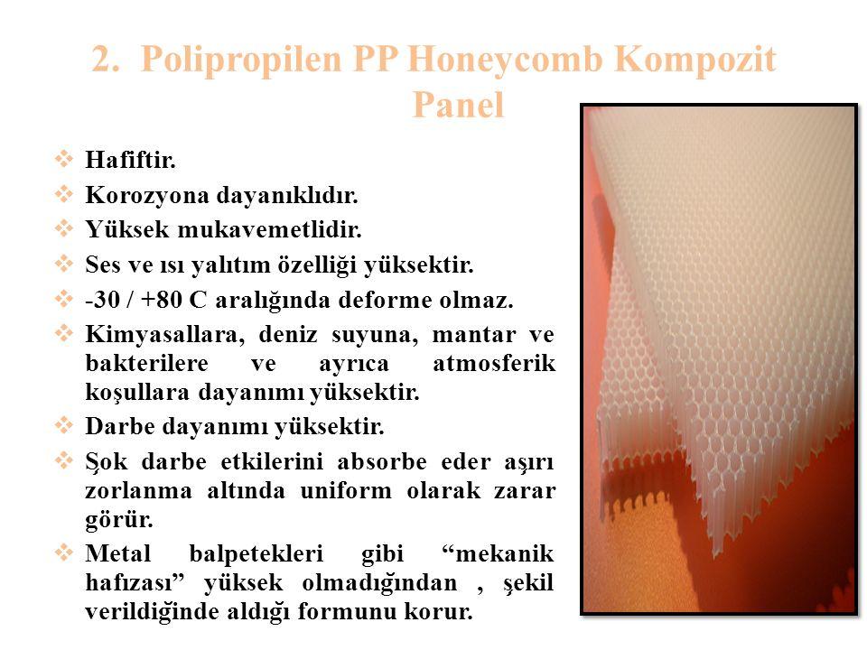 2.Polipropilen PP Honeycomb Kompozit Panel  Hafiftir.  Korozyona dayanıklıdır.  Yüksek mukavemetlidir.  Ses ve ısı yalıtım özelliği yüksektir.  -
