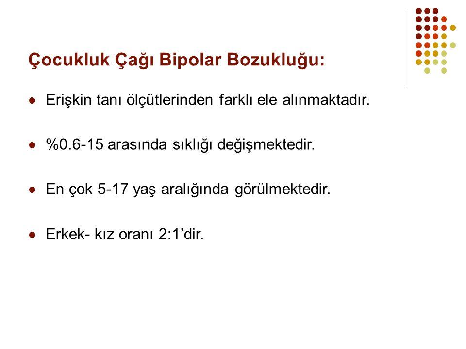 Çocukluk Çağı Bipolar Bozukluğu: Erişkin tanı ölçütlerinden farklı ele alınmaktadır. %0.6-15 arasında sıklığı değişmektedir. En çok 5-17 yaş aralığınd