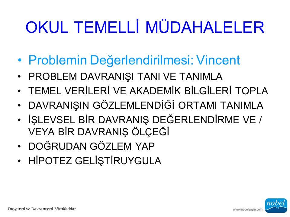 OKUL TEMELLİ MÜDAHALELER Problemin Değerlendirilmesi: Vincent PROBLEM DAVRANIŞI TANI VE TANIMLA TEMEL VERİLERİ VE AKADEMİK BİLGİLERİ TOPLA DAVRANIŞIN