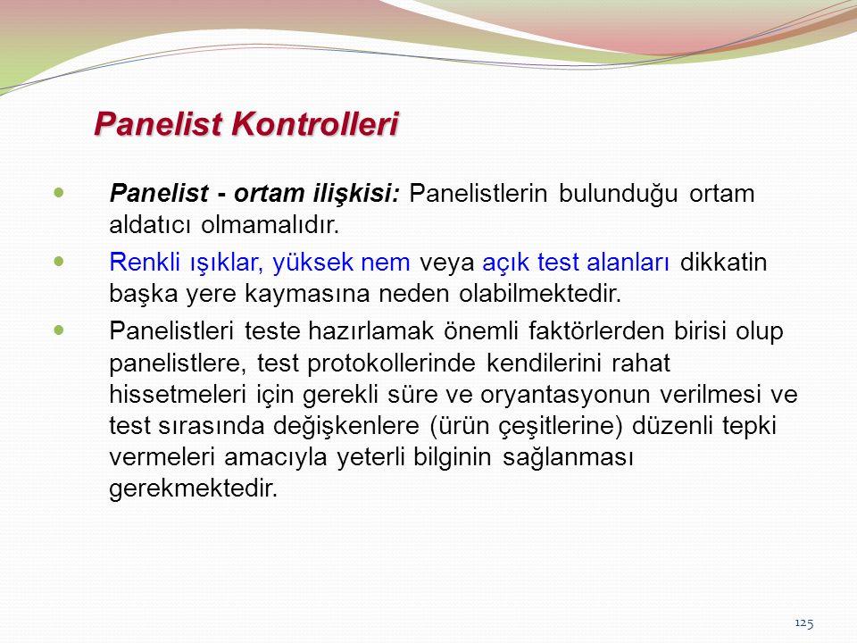 125 Panelist Kontrolleri Panelist - ortam ilişkisi: Panelistlerin bulunduğu ortam aldatıcı olmamalıdır. Renkli ışıklar, yüksek nem veya açık test alan