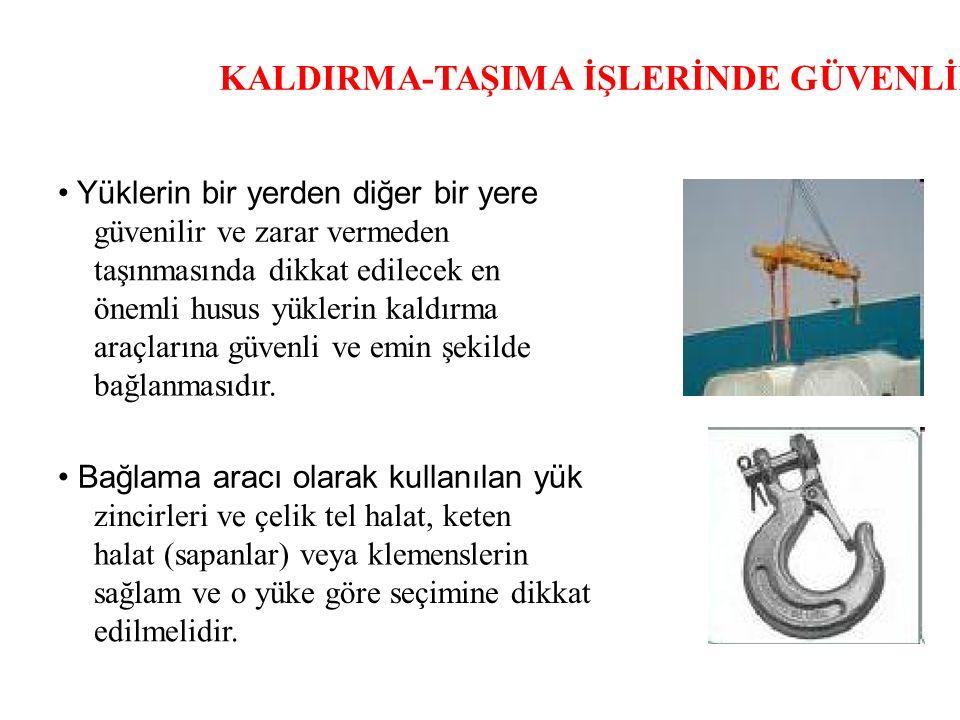 KALDIRMA-TAŞIMA İŞLERİNDE GÜVENLİK Yüklerin bir yerden diğer bir yere güvenilir ve zarar vermeden taşınmasında dikkat edilecek en önemli husus yükleri