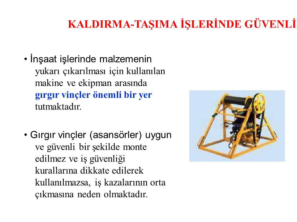 KALDIRMA-TAŞIMA İŞLERİNDE GÜVENLİK İnşaat işlerinde malzemenin yukarı çıkarılması için kullanılan makine ve ekipman arasında gırgır vinçler önemli bir