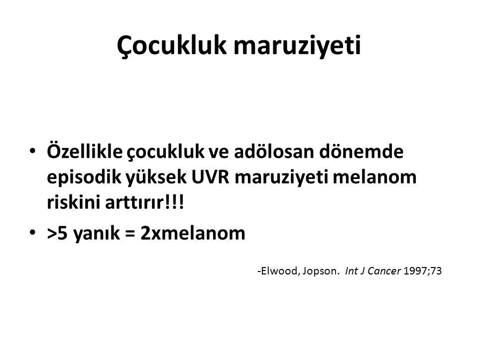 Çocukluk maruziyeti Özellikle çocukluk ve adölosan dönemde episodik yüksek UVR maruziyeti melanom riskini arttırır!!! >5 yanık = 2xmelanom -Elwood, Jo