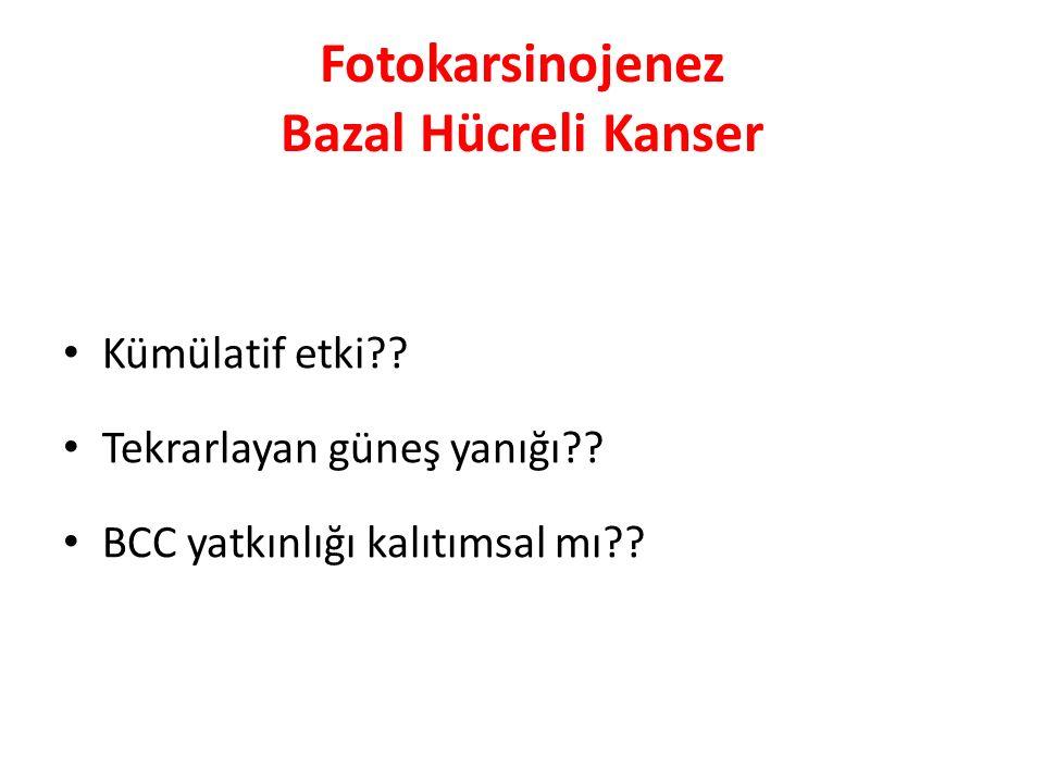 Fotokarsinojenez Bazal Hücreli Kanser Kümülatif etki?? Tekrarlayan güneş yanığı?? BCC yatkınlığı kalıtımsal mı??