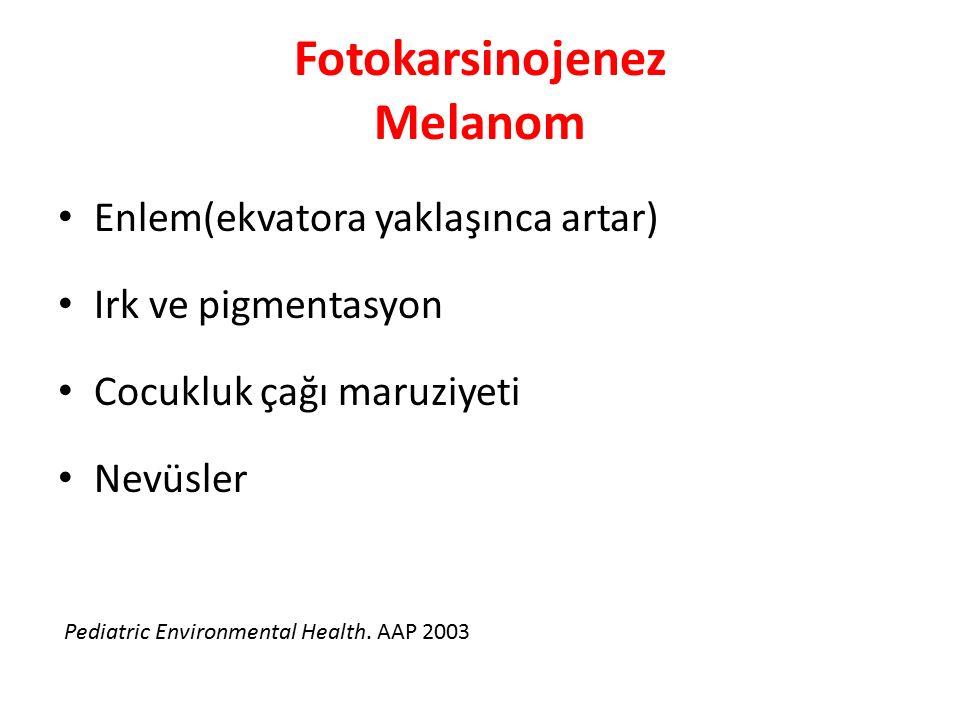 Fotokarsinojenez Melanom Enlem(ekvatora yaklaşınca artar) Irk ve pigmentasyon Cocukluk çağı maruziyeti Nevüsler Pediatric Environmental Health. AAP 20
