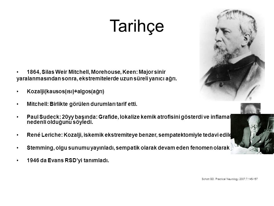 Tarihçe 1864, Silas Weir Mitchell, Morehouse, Keen: Major sinir yaralanmasından sonra, ekstremitelerde uzun süreli yanıcı ağrı. Kozalji(kausos(ısı)+al