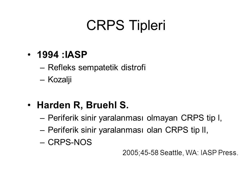 CRPS Tipleri 1994 :IASP –Refleks sempatetik distrofi –Kozalji Harden R, Bruehl S. –Periferik sinir yaralanması olmayan CRPS tip l, –Periferik sinir ya