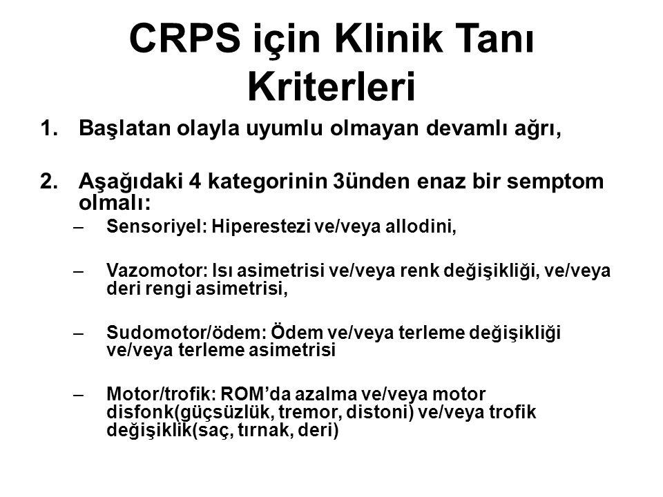 CRPS için Klinik Tanı Kriterleri 1.Başlatan olayla uyumlu olmayan devamlı ağrı, 2.Aşağıdaki 4 kategorinin 3ünden enaz bir semptom olmalı: –Sensoriyel: Hiperestezi ve/veya allodini, –Vazomotor: Isı asimetrisi ve/veya renk değişikliği, ve/veya deri rengi asimetrisi, –Sudomotor/ödem: Ödem ve/veya terleme değişikliği ve/veya terleme asimetrisi –Motor/trofik: ROM'da azalma ve/veya motor disfonk(güçsüzlük, tremor, distoni) ve/veya trofik değişiklik(saç, tırnak, deri)