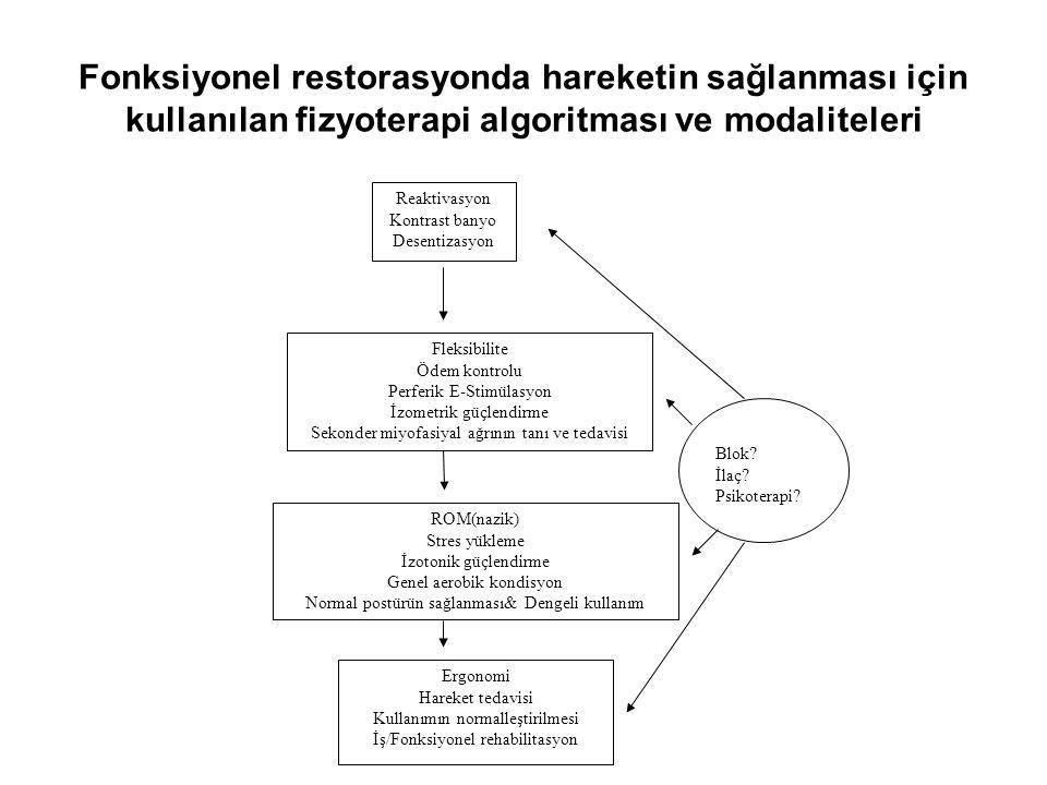 Fleksibilite Ödem kontrolu Perferik E-Stimülasyon İzometrik güçlendirme Sekonder miyofasiyal ağrının tanı ve tedavisi ROM(nazik) Stres yükleme İzotoni