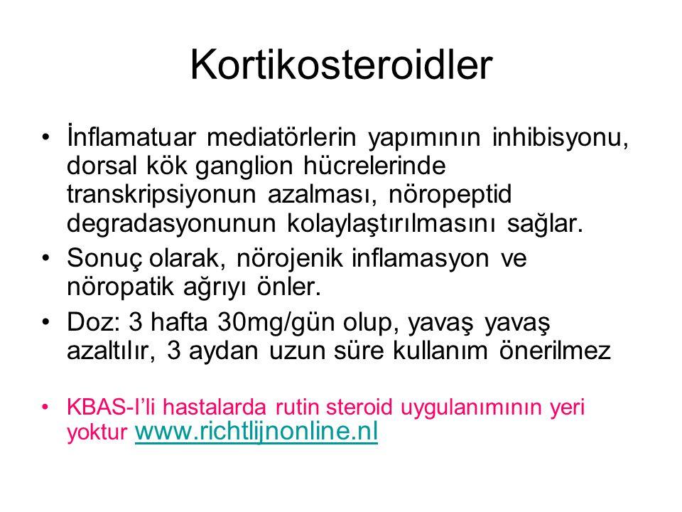 Kortikosteroidler İnflamatuar mediatörlerin yapımının inhibisyonu, dorsal kök ganglion hücrelerinde transkripsiyonun azalması, nöropeptid degradasyonu