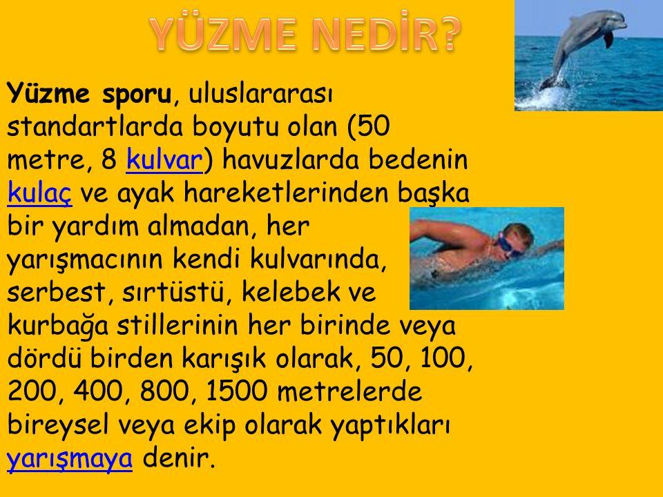 Yüzme sporu, uluslararası standartlarda boyutu olan (50 metre, 8 kulvar) havuzlarda bedenin kulaç ve ayak hareketlerinden başka bir yardım almadan, her yarışmacının kendi kulvarında, serbest, sırtüstü, kelebek ve kurbağa stillerinin her birinde veya dördü birden karışık olarak, 50, 100, 200, 400, 800, 1500 metrelerde bireysel veya ekip olarak yaptıkları yarışmaya denir.kulvar kulaç yarışmaya