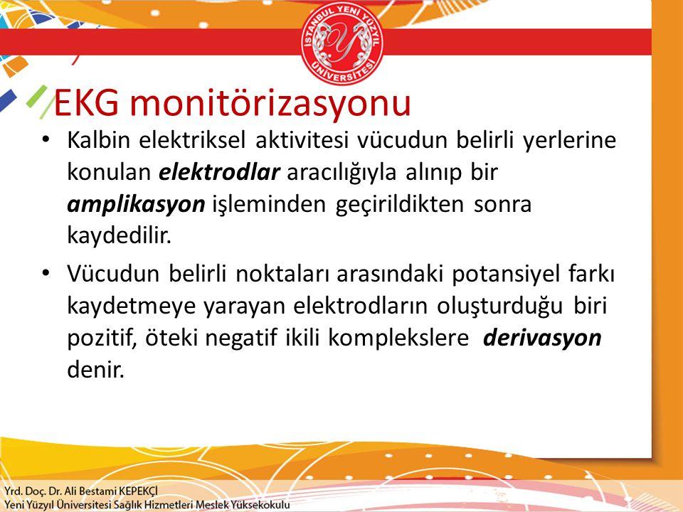 EKG monitörizasyonu Kalbin elektriksel aktivitesi vücudun belirli yerlerine konulan elektrodlar aracılığıyla alınıp bir amplikasyon işleminden geçiril