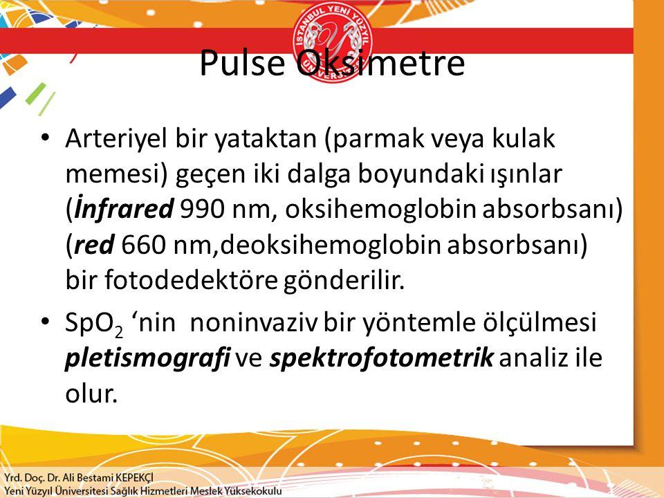 Pulse Oksimetre Arteriyel bir yataktan (parmak veya kulak memesi) geçen iki dalga boyundaki ışınlar (İnfrared 990 nm, oksihemoglobin absorbsanı) (red