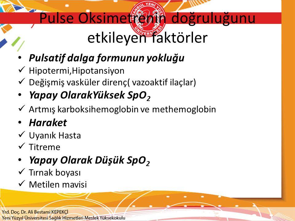 Pulse Oksimetrenin doğruluğunu etkileyen faktörler Pulsatif dalga formunun yokluğu Hipotermi,Hipotansiyon Değişmiş vasküler direnç( vazoaktif ilaçlar)