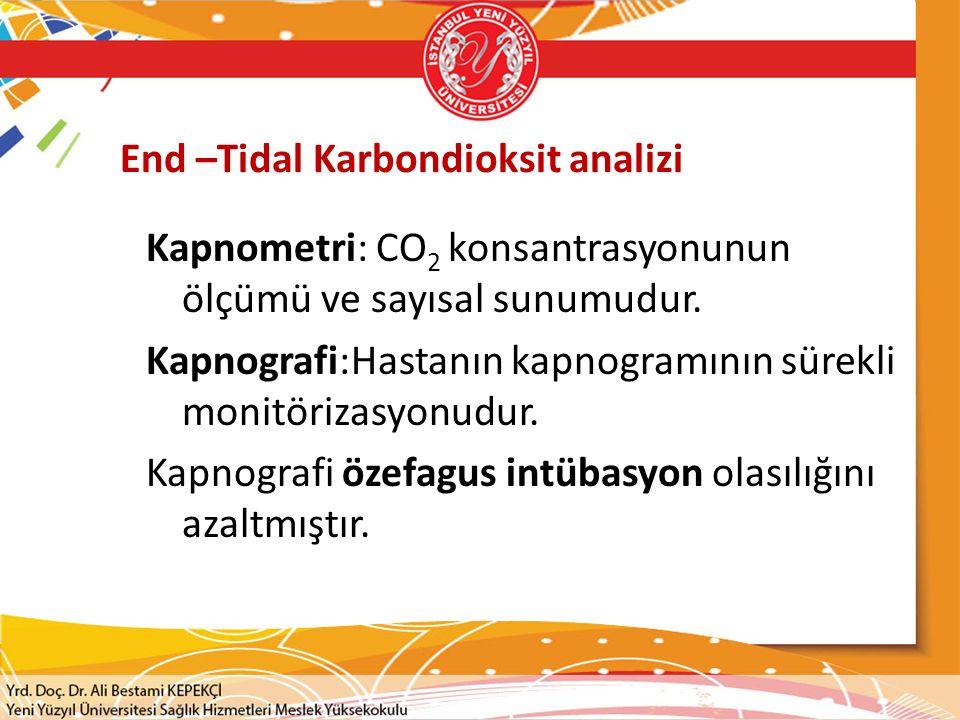 End –Tidal Karbondioksit analizi Kapnometri: CO 2 konsantrasyonunun ölçümü ve sayısal sunumudur. Kapnografi:Hastanın kapnogramının sürekli monitörizas