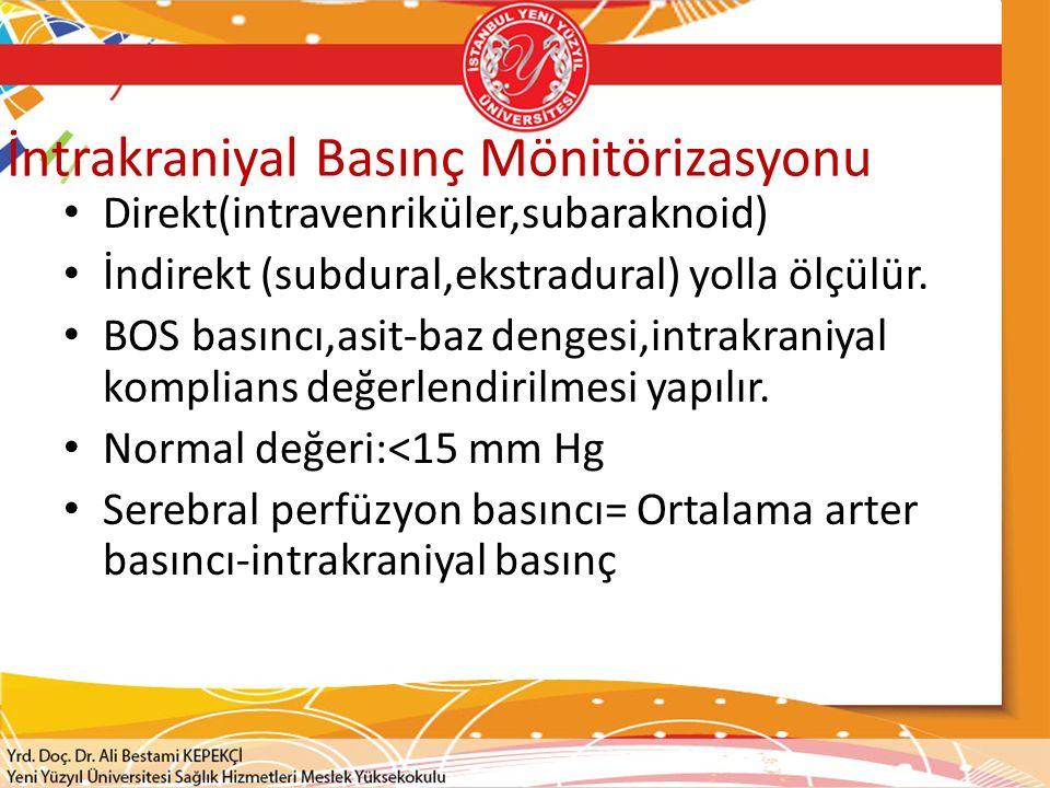 İntrakraniyal Basınç Mönitörizasyonu Direkt(intravenriküler,subaraknoid) İndirekt (subdural,ekstradural) yolla ölçülür. BOS basıncı,asit-baz dengesi,i