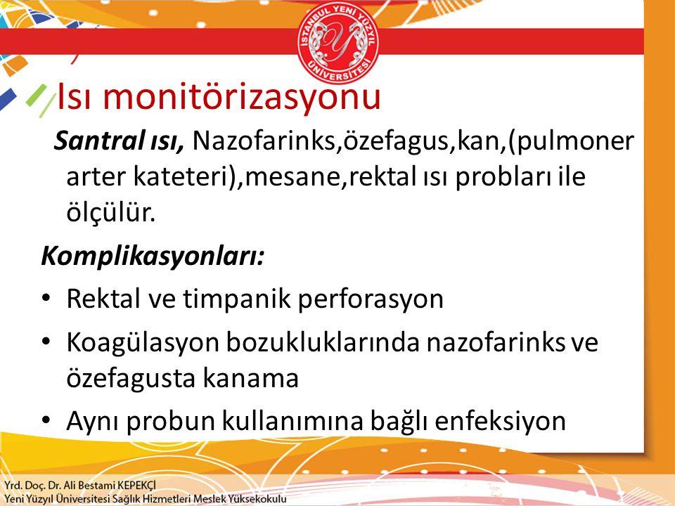 Isı monitörizasyonu Santral ısı, Nazofarinks,özefagus,kan,(pulmoner arter kateteri),mesane,rektal ısı probları ile ölçülür. Komplikasyonları: Rektal v